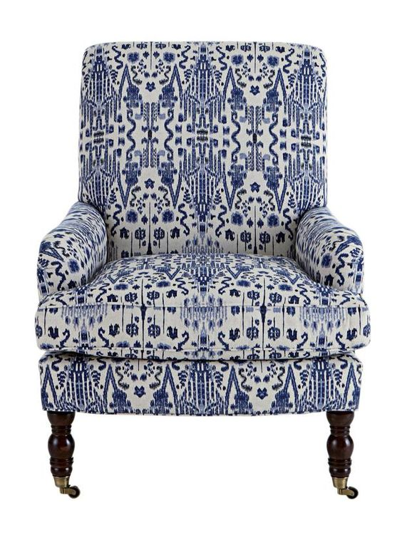 Pattern Match blue and white ikat chair from Horchow