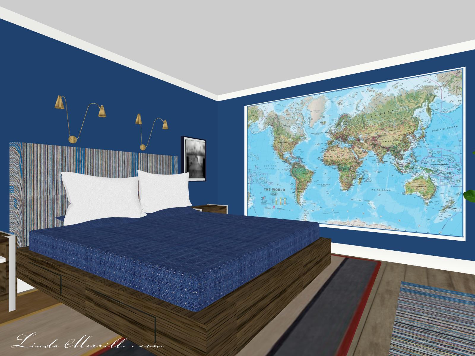 Linda Merrill Coastal Collection Newburyport rug blue bedroom 2