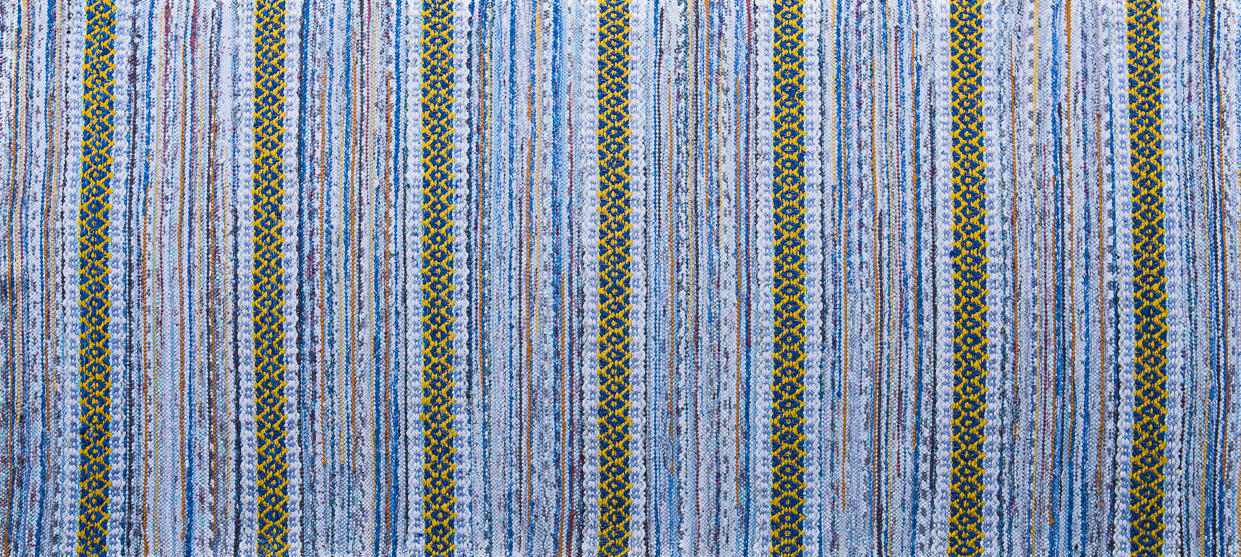 Truro Rug Coastal Collection blue and yellow handwoven rug runner rug