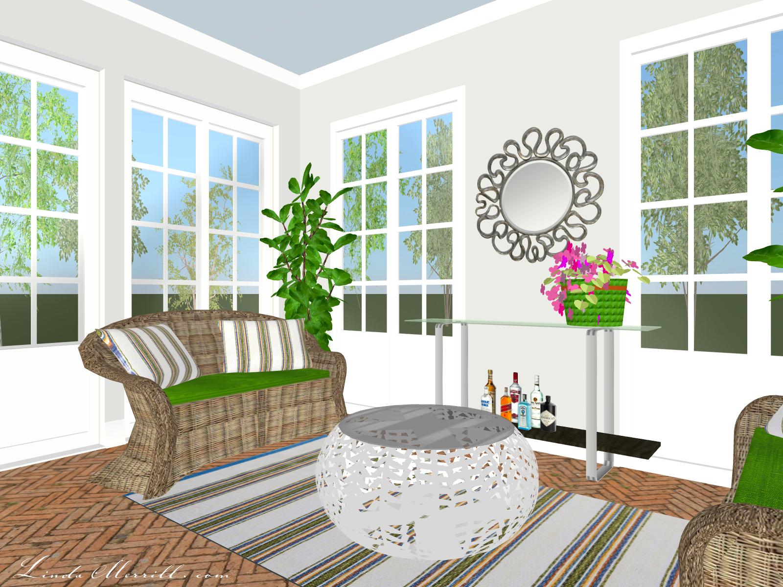 Linda Merrill Coastal Collection Newport Rug Gray blue green Sunroom 2