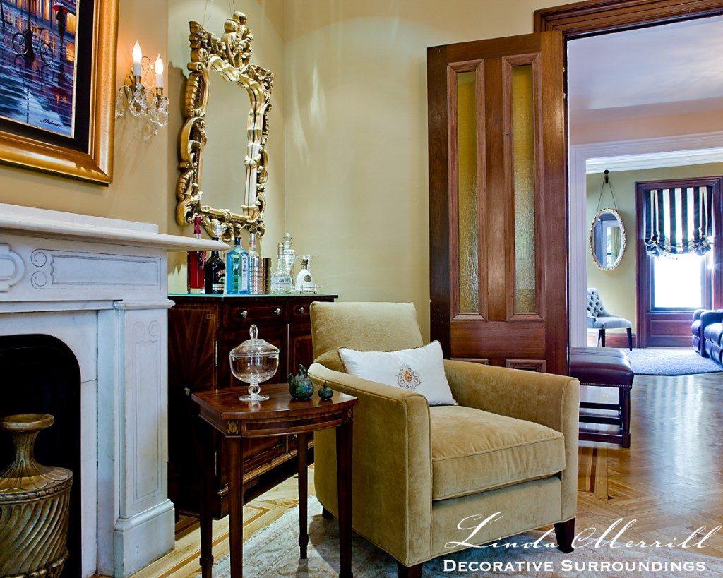 Linda Merrill South End Boston living room formal accent chair gold velvet