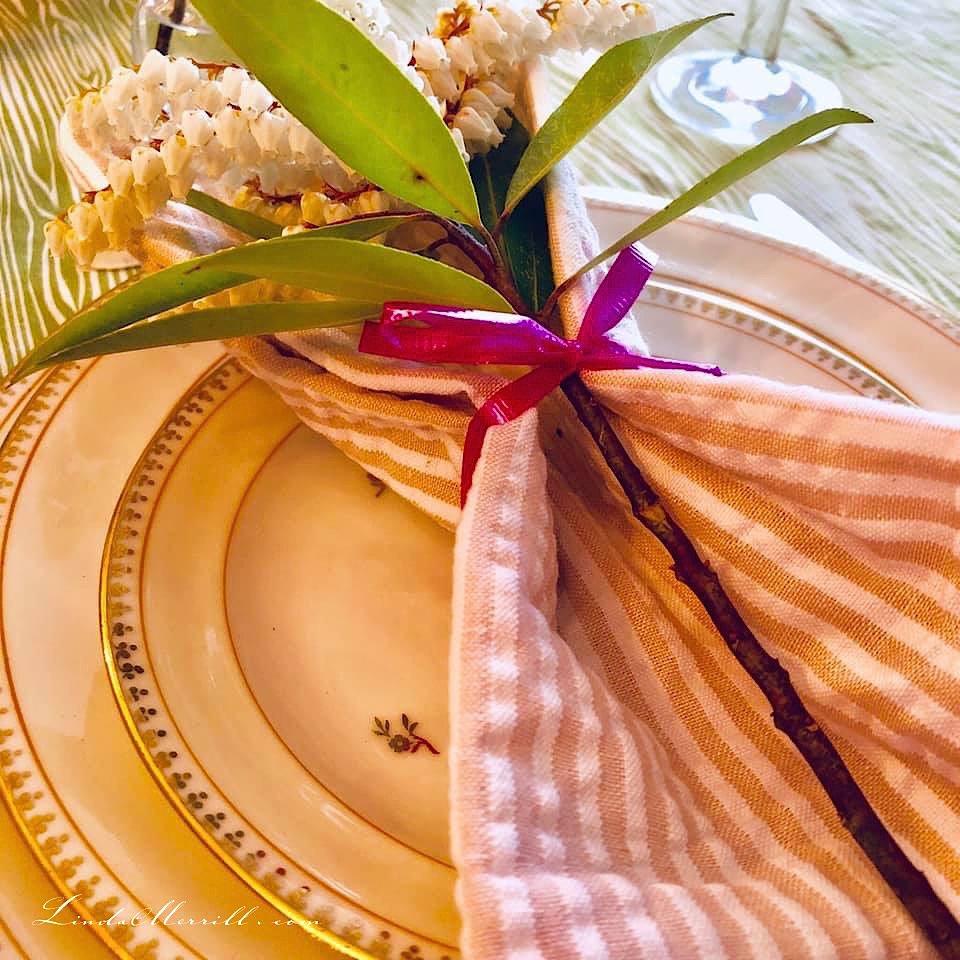 Linda Merrill Ladies High Tea china napkin flower closup