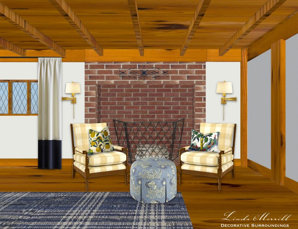 Linda Merrill Modern Living in Antique Houses Bedroom decorated fireplace wall