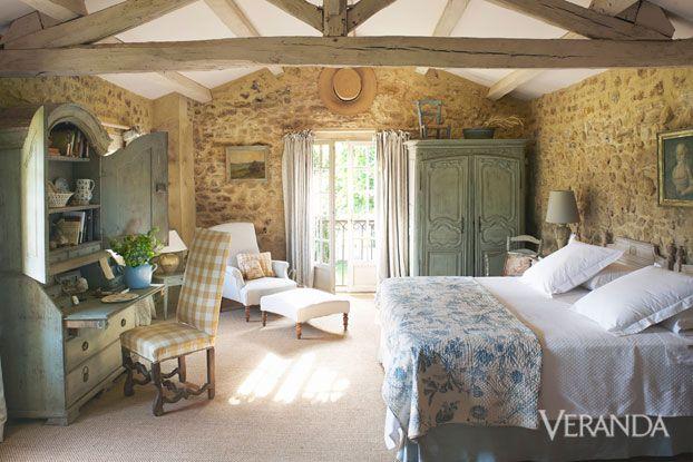 Marston Luce antiques design Dordogne france Veranda stone wall bedroom