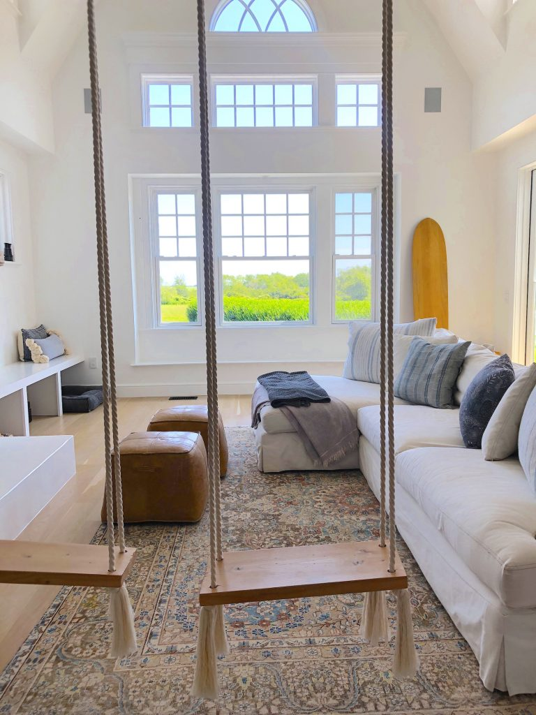 163 High Rd Newburyport Kitchen Tour 2019 Modern Black and White Sitting room with swings LMM