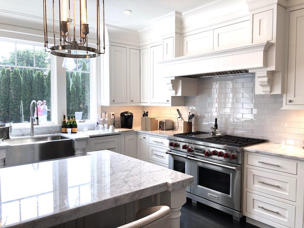 8 Wilshire Rd Newburyport Kitchen Tour 2019 Modern Black and White Kitchen stove LMM