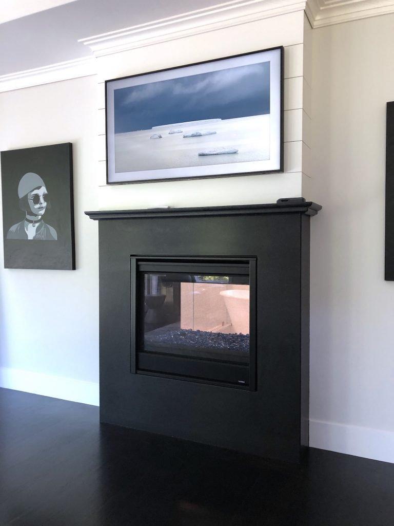 8 Wilshire Rd Newburyport Kitchen Tour 2019 Modern Black and White Master bedroom fireplace LMM