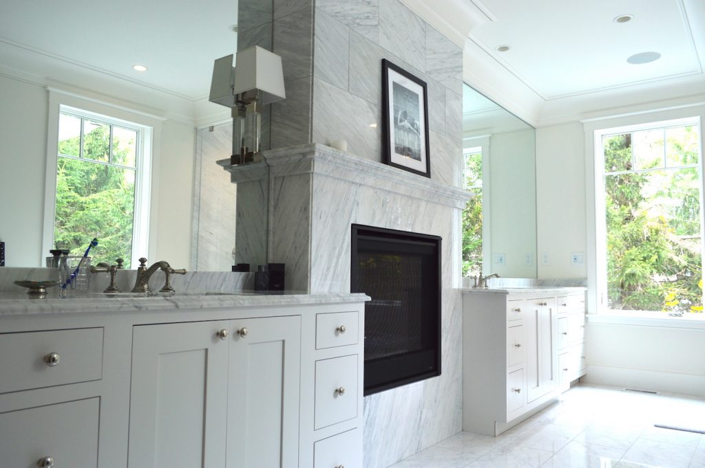 Newburyport Kitchen Tour 2019 Preview white bathroom fireplace Timberline