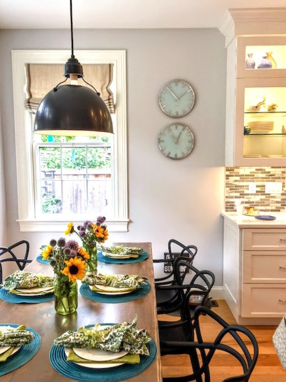 Newburyport Kitchen tour 2016 table with sunflowers