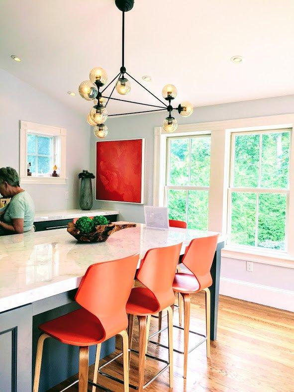 Newburyport Kitchen tour 2017 gray and orange kitchen