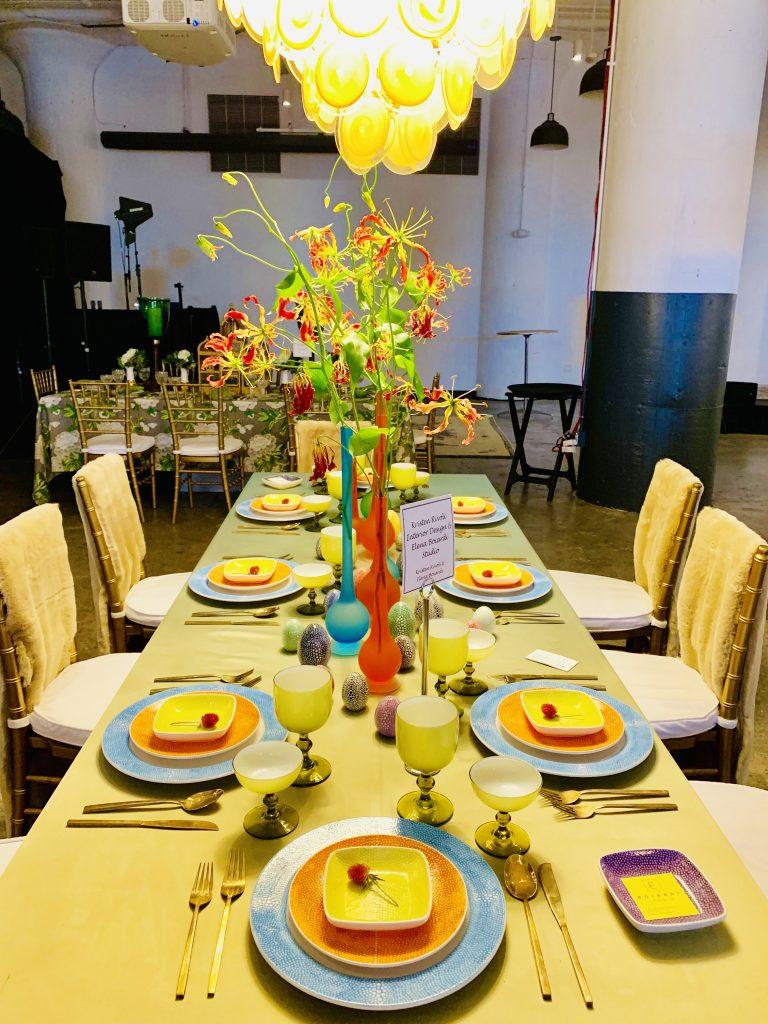Deisgner Kristen Rivoli and Elena Biordi heading home to dinner beautiful tablescapes chandelier