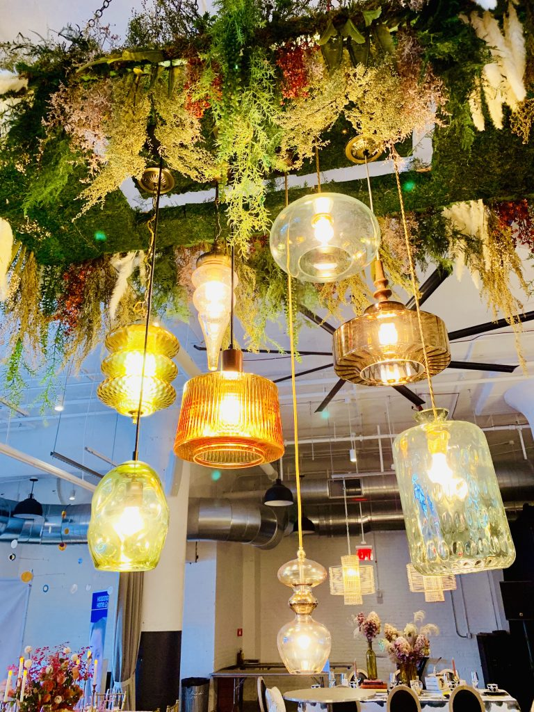 Designer Tina Anastasia Heading Home to Dinner 2019 tablescape chandelier