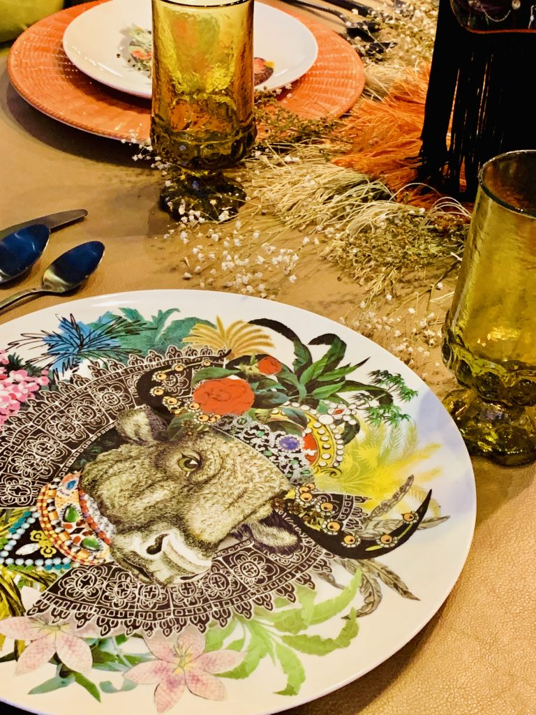 Designer Tina Anastasia Heading Home to Dinner 2019 tablescape placesetting