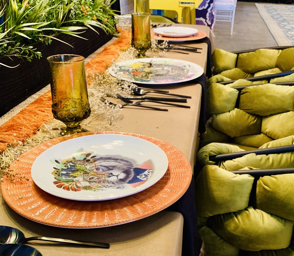 Designer Tina Anastasia Heading Home to Dinner 2019 tablescape table and velvet chairs