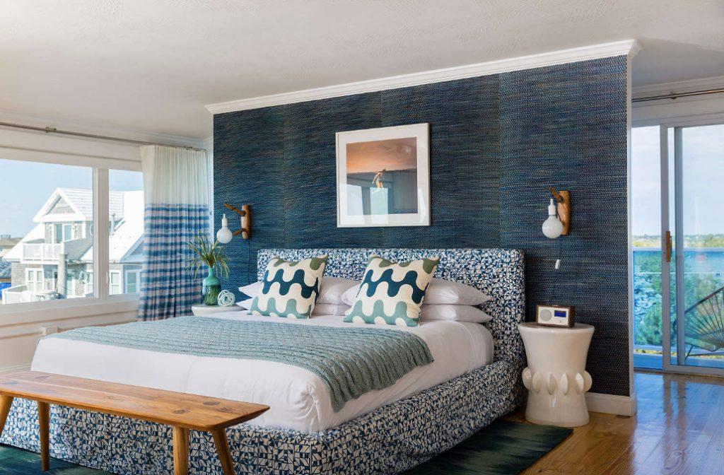 Blue Inn Plum Island Newburyport Massachusetts blue wall guest bedroom