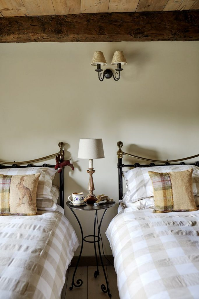 Tudor stone cottage bastle photography Brent Darby twin bedroom charming stone cottage guest bedroom