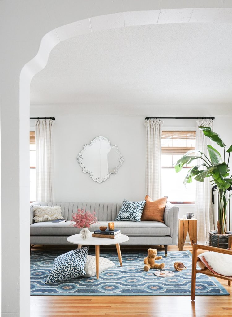 Lisa Peck Sylvie & Mira Leap Blue Rug and Toggle Aqua and Birches Sunset both the styling and photo are by Erin Francios of Francios et Moi