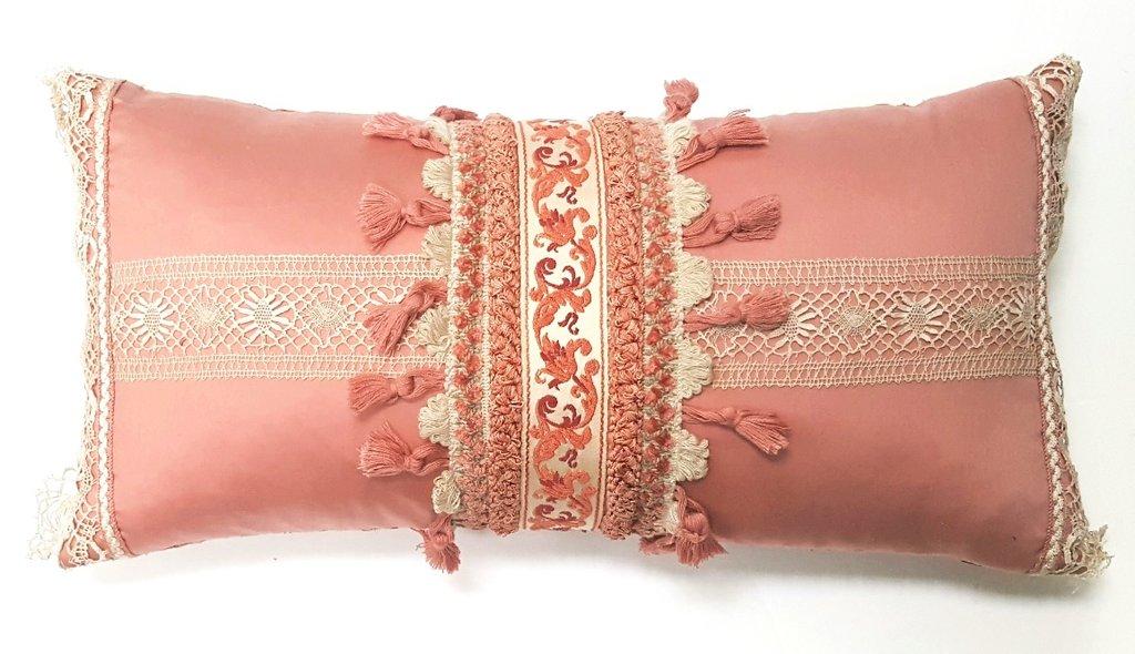 SOFT PINK VINTAGE FRENCH TRIM & LACE PILLOW Deborah Main The Pillow Goddessn designer collections