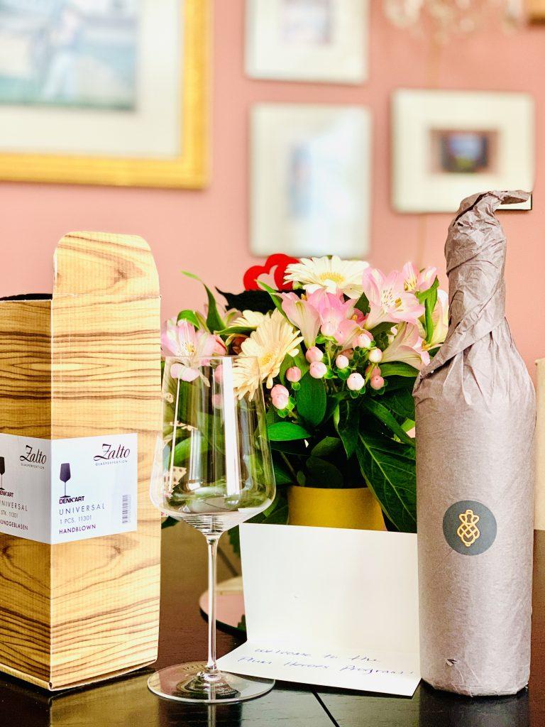 Plum Wine Perus Wine with glass and flowers Linda Merrill