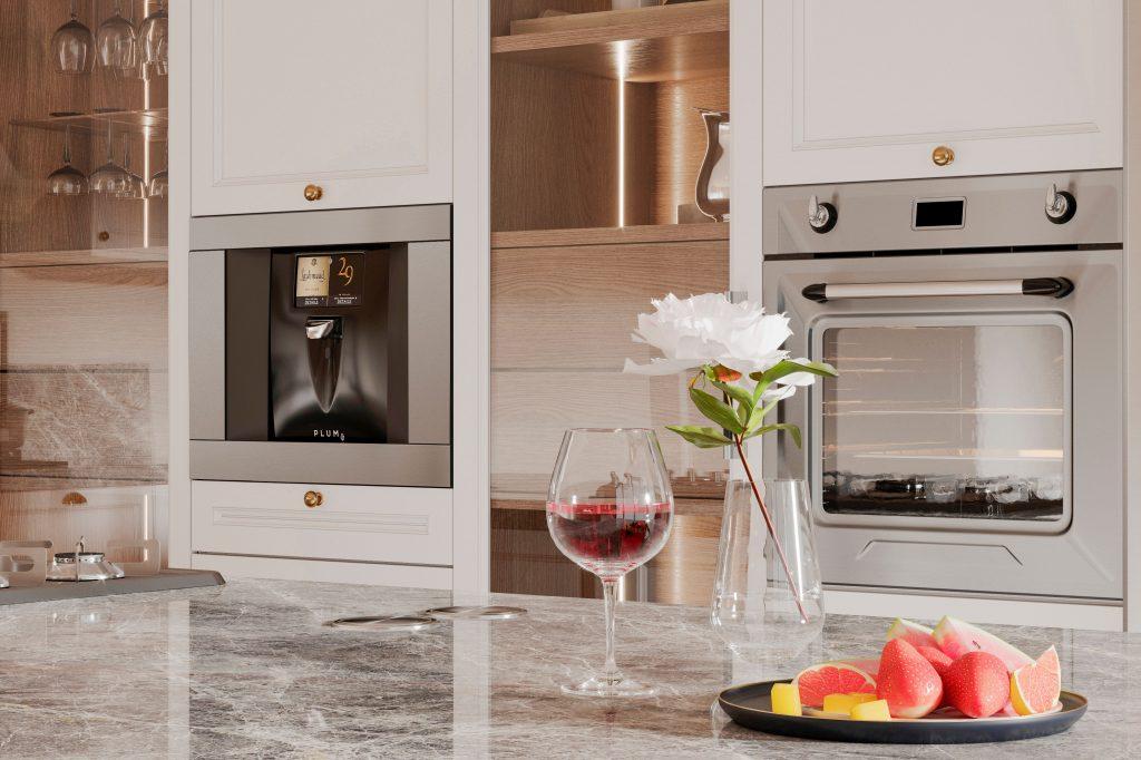 Plum Wine dispenser built-in unit Linda Merrill